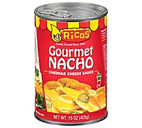 Ricos Sauce Cheese Gourmet Nacho Cheddar Medium Can - 15 Oz