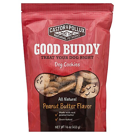 Castor & Pollux Good Buddy Dog Treats All Natural Cookies Peanut Butter Flavor Bag - 16 Oz