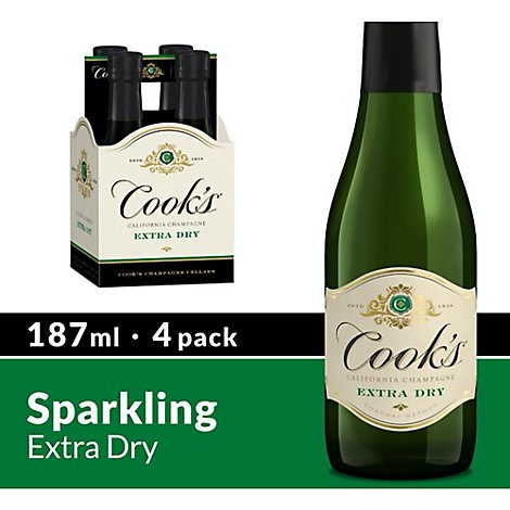 Cooks California Champagne Wine Sparkling White Extra Dry - 4-187 Ml