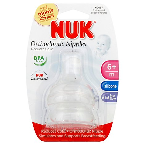 Nuk Nipple Wide Neck Size 2 - 2 Count