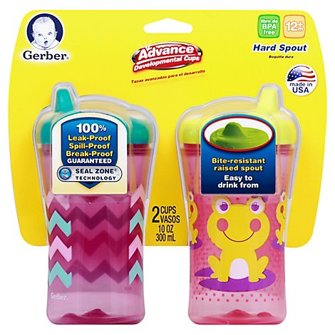 Gerber Grad Cup Advance Hard Spout 10 Oz - 2 Count (Colors may vary)