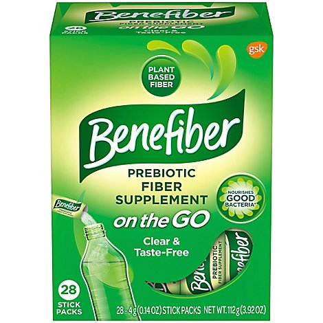 Benefiber Fiber Supplement Sugar-Free on-the-GO Stick Packs - 28-14 Oz.