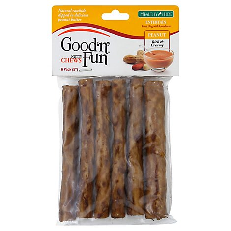 Healthy Hide Good N Fun Dog Treats Chews Nutty Peanut 5 Inch Bag - 6 Count