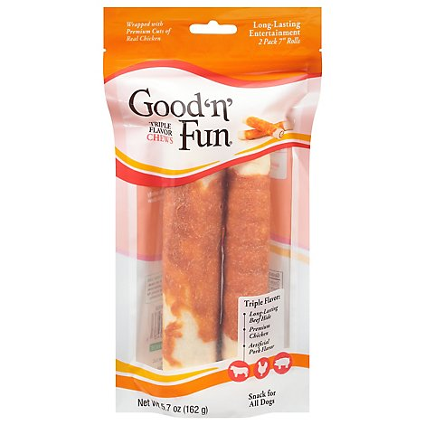 Healthy Hide Good N Fun Dog Treats Gourmet Chew Bone Triple Flavor 7 Inch Pouch - 2 Count