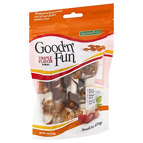 Healthy Hide Good n Fun Dog Treats Triple Flavor Kabobs Bag - 4 Oz