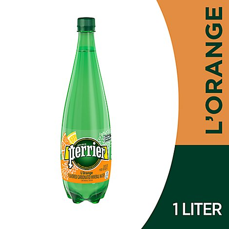 Perrier Carbonated Mineral Water L Orange Flavor - 33.8 Fl. Oz.