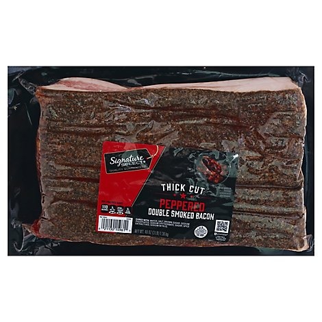 Signature SELECT Bacon Thick Cut Peppered Hickory Smoked - 48 Oz
