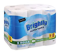Signature SELECT Paper Towels Brightly Lint-Free Shine Big Roll 2 Ply Wrap - 6 Count