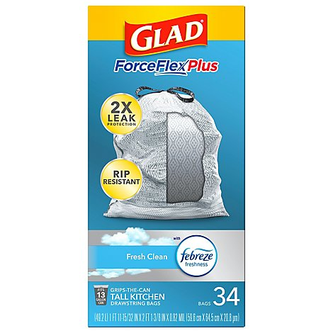 Glad Force Flex Odor Shield 13 Gallon Tall Kitchen Bags - 34 Count