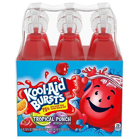 Kool-Aid Soft Drink 75% Less Sugar Tropical Punch - 6-6.75 Fl. Oz.