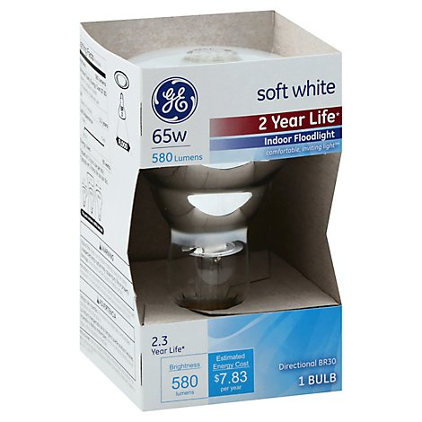 GE Light Bulbs Indoor Floodlight Soft White 65 Watts - Each