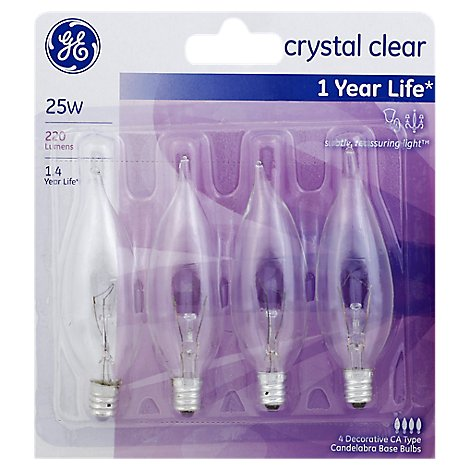 GE Light Bulbs Crystal Clear CA Type Candelabra Base 25 Watts - 4 Count