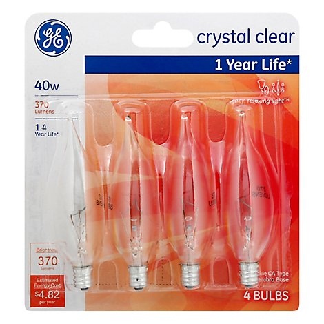 GE Light Bulbs Crystal Clear CA Type Candelabra Base 40 Watts - 4 Count
