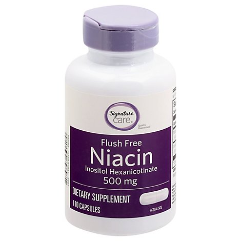 Signature Care Niacin 500mg Flush Free Dietary Supplement T- 110 Count