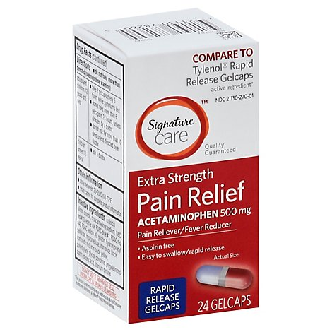 Signature Care Pain Relief Gelcap Acetaminophen 500mg Extra Strength Aspirin Free - 24 Count