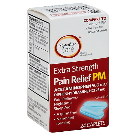 Signature Care Pain Relief PM Caplet Acetaminophen 500mg Extra Strength Aspirin Free - 24 Count