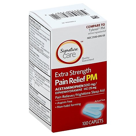 Signature Care Pain Relief PM Caplet Acetaminophen 500mg Extra Strength Aspirin Free - 100 Count
