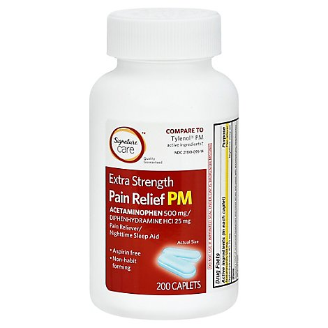 Signature Care Pain Relief PM Caplet Acetaminophen 500mg Extra Strength Aspirin Free - 200 Count