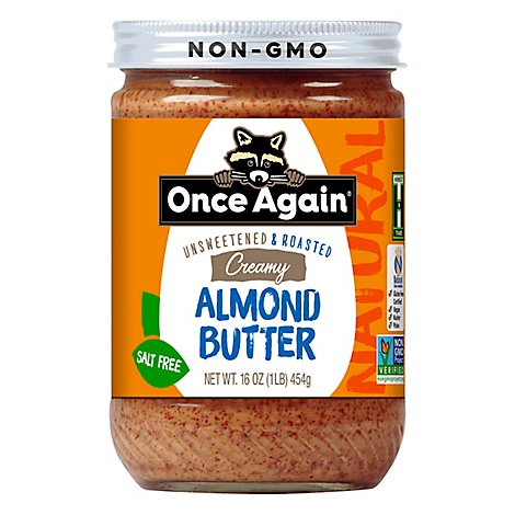 Once Again Almond Butter Spread Creamy Unsweetend & Salt Free - 16 Oz