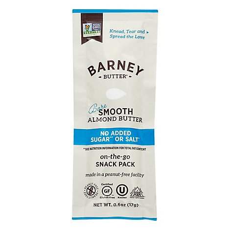 Barney Butter Almond Butter Bare Smooth No Added Sugar Or Salt Snack Pack - 0.6 Oz