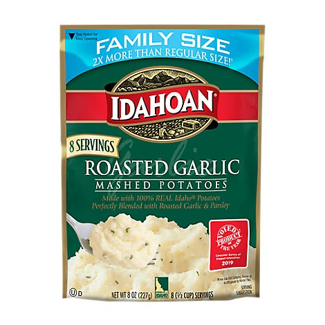 Idahoan Potatoes Mashed Roasted Garlic Pouch - 8 Oz