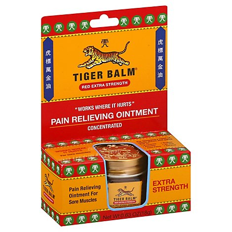 Tiger Balm Pain Relieving Ointment Concentrated Red Extra Strength - 0.63 Oz