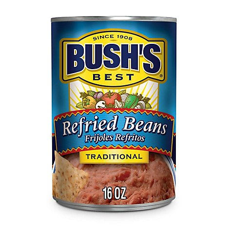 Bushs Cocina Latina Beans Refried Traditional Can - 16 Oz