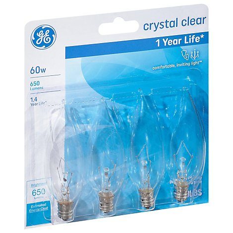 GE Light Bulbs Crystal Clear CA Type Candelabra Base 60 Watts - 4 Count