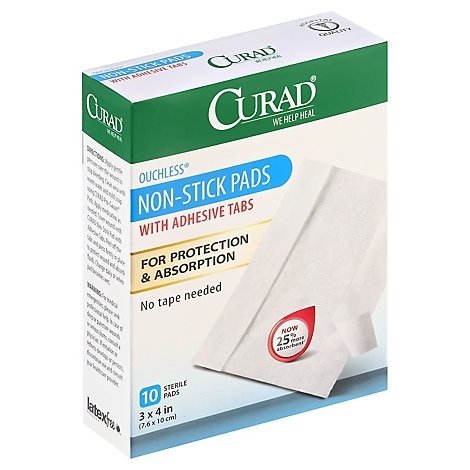 Curad Pads Non-Stick Ouchless with Adhesive Tabs - 10 Count