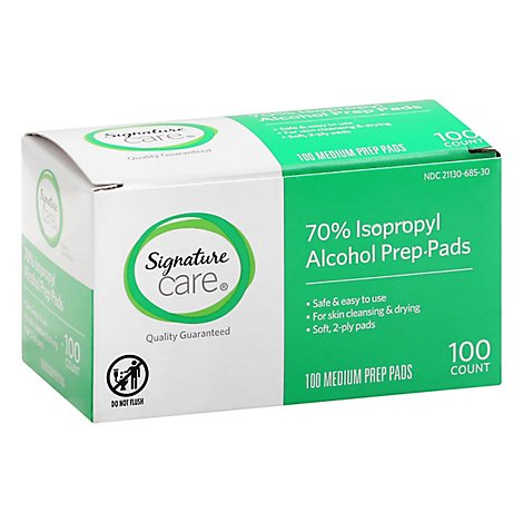 Signature Care Prep Pads Alcohol Isopropyl 70% - 100 Count