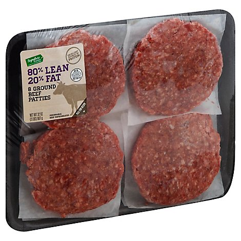 Signature Farms Beef Ground Beef Patties 80% Lean 20% Fat - 2 Lb