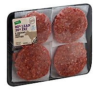 Tyson Beef Ground Beef Patties 80% Lean 20% Fat - 2 Lb