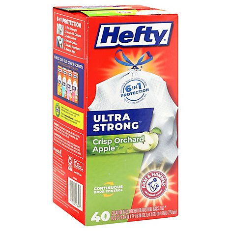 Hefty Trash Bag Tall Drawstring Ultra Strong Crisp Orchard Apple - 40 Count