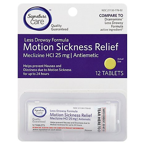 Signature Care Motion Sickness Relief Tablet Meclizine HCI 25mg Less Drowsy Formula - 12 Count