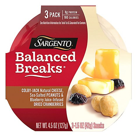 Sargento Balanced Breaks Cheese Snack Colby-Jack 3 Pack - 3-1.5 Oz