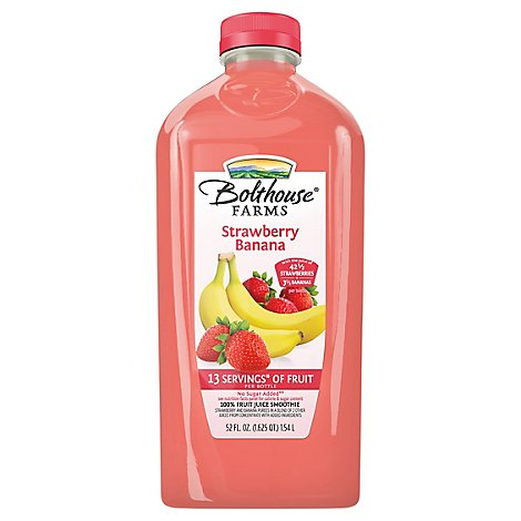 Bolthouse Farms 100% Fruit Juice Smoothie + Boosts Strawberry Banana - 52 Fl. Oz.