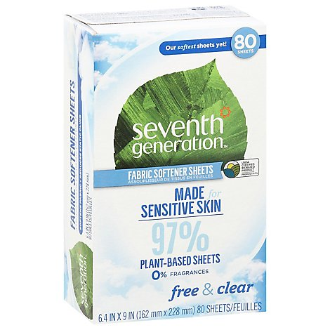 Seventh Generation Fabric Softener Sheets Free & Clear - 80 Count