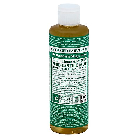 Dr. Bronners Soap Liquid Pure Castile 18 In 1 Hemp Almond - 8 Fl. Oz.