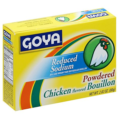 Goya Powdered Chicken Flavored Bouillon Reduced Sodium Box - 2.82 Oz