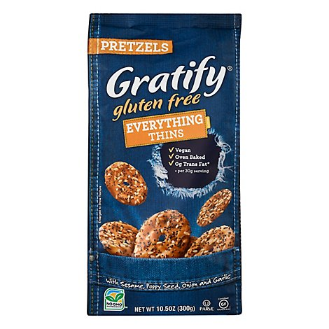 Gratify Pretzels Gluten Free Thins Everything - 10.5 Oz