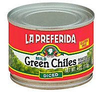 La Preferida Green Chiles Diced Mild Can - 4 Oz