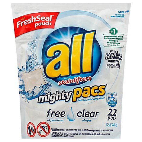 all Laundry Detergent Stainlifters Mighty Pacs Free & Clear Pouch - 22 Count