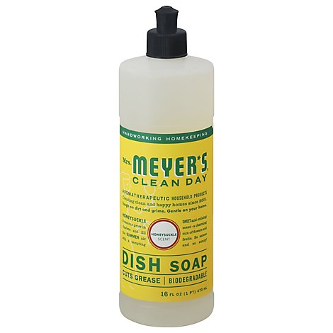 Mrs. Meyers Clean Day Liquid Dish Soap Honeysuckle Scent 16 ounce bottle