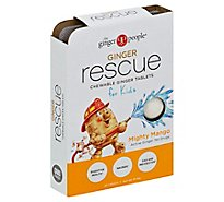 Ginger People Ginger Rescue for Kids Chewing Ginger Tablets Mighty Mango - 24 Count
