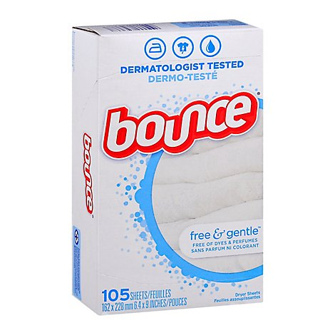 Bounce Fabric Softener Dryer Sheets Free & Gentle - 105 Count