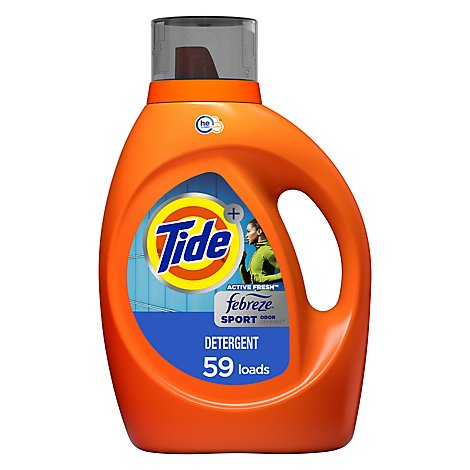 Tide Plus Laundry Detergent Liquid Febreze Freshness HE Clean Sport Odor Defense - 92 Fl. Oz.