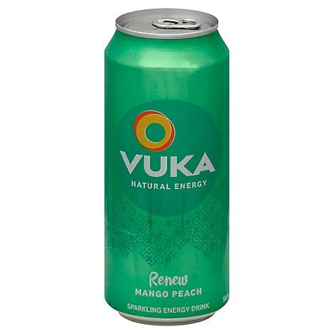 Vuka Energy Drink Sparkling Renew Mango Peach - 16 Fl. Oz.