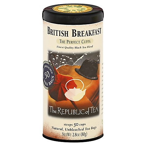 The Republic of Tea Black Tea Bags The Perfect Cuppa British Breakfast - 50 Count