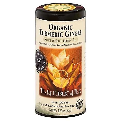The Republic Of Tea Green Tea Organic Turmeric Ginger - 50 Count