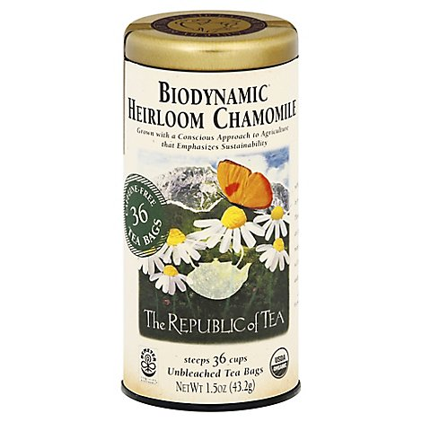 The Republic of Tea Biodynamic Organic Unbleached Tea Heirloom Chamomile - 36 Count